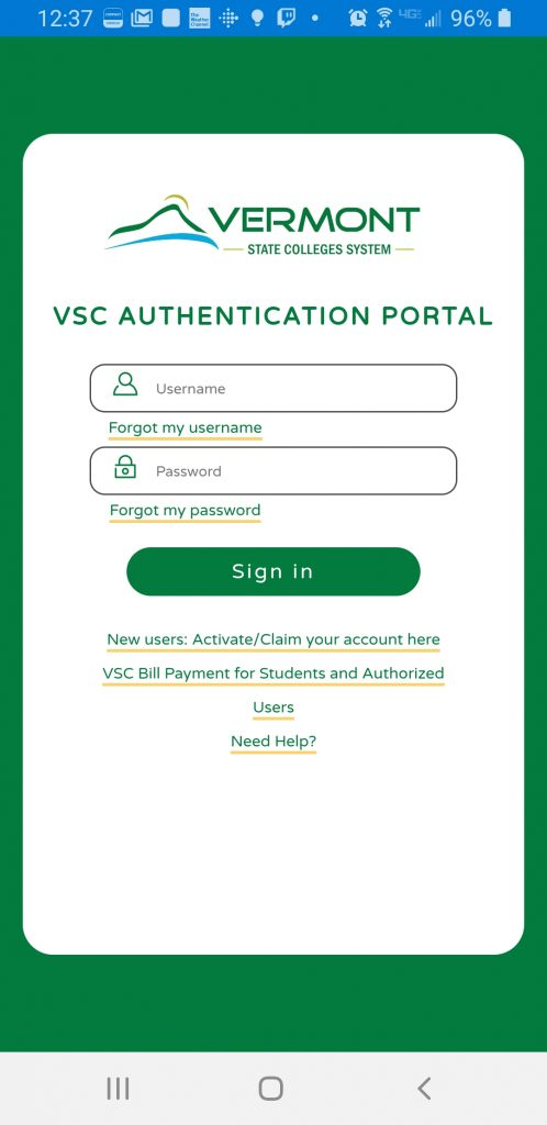 VSC Authentication Page