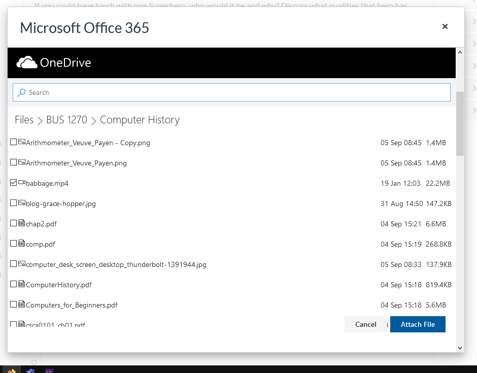 Select File From OneDrive
