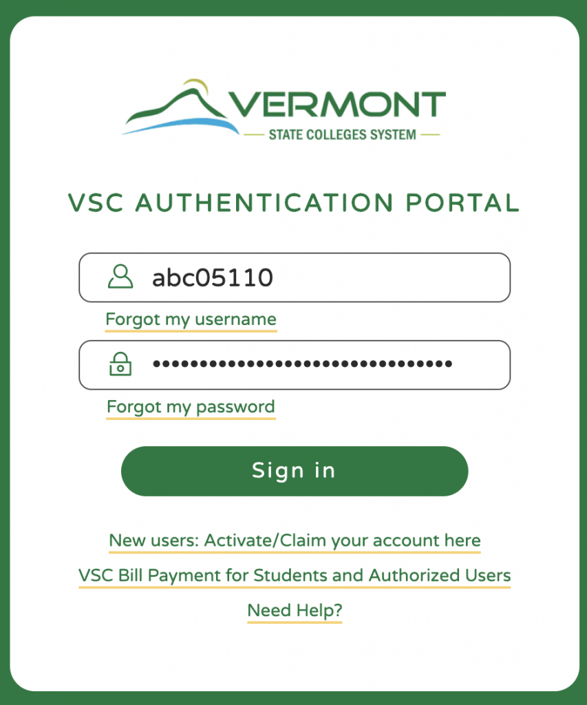 Sign in with current Portal credentials