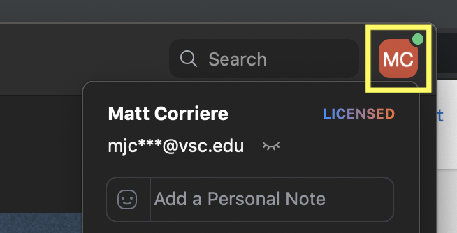 Select your name at the top right and make sure you are signed in @vsc.edu