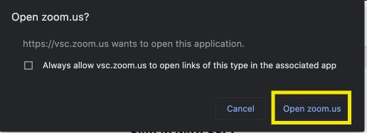 Select Open Zoom US