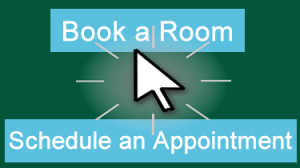Cursor arrow near buttons for Book a Room& Schedule an Appointment