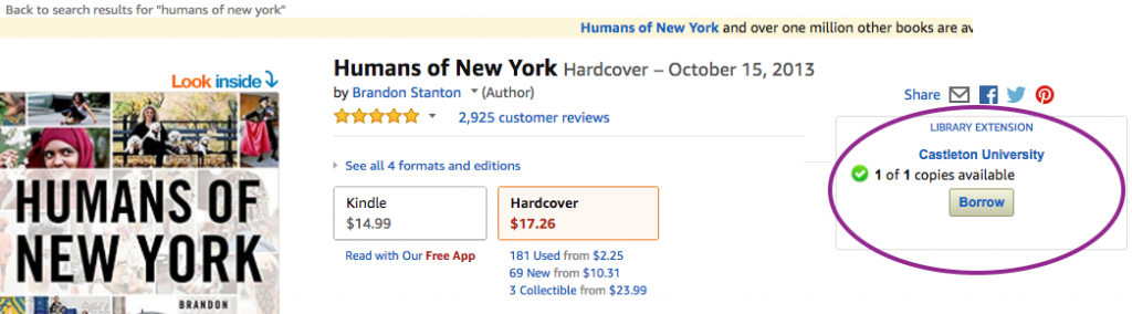Screenshot of Amazon site for Humans of New York book, with the Library Extension highlighted and showing that a copy of the book is available in the Castleton Library