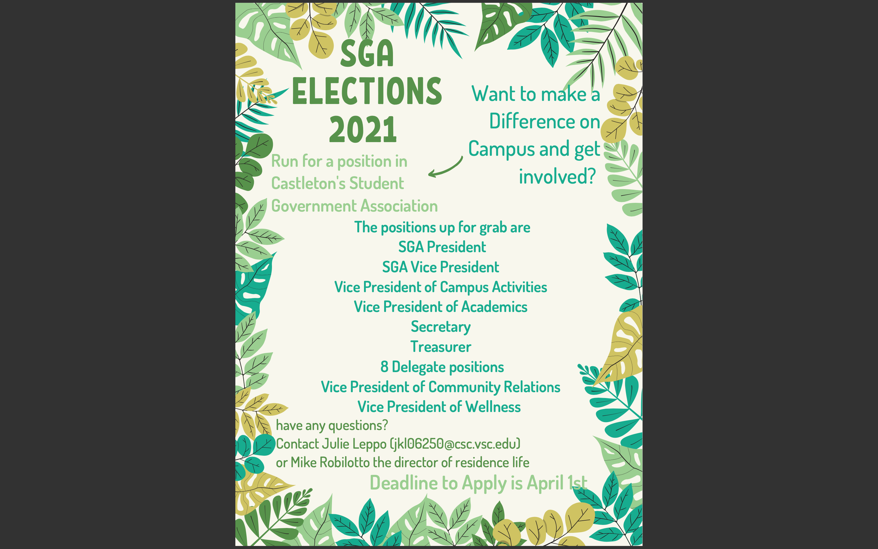 Interested in Student Government Association? Apply Today! (Due April 1)