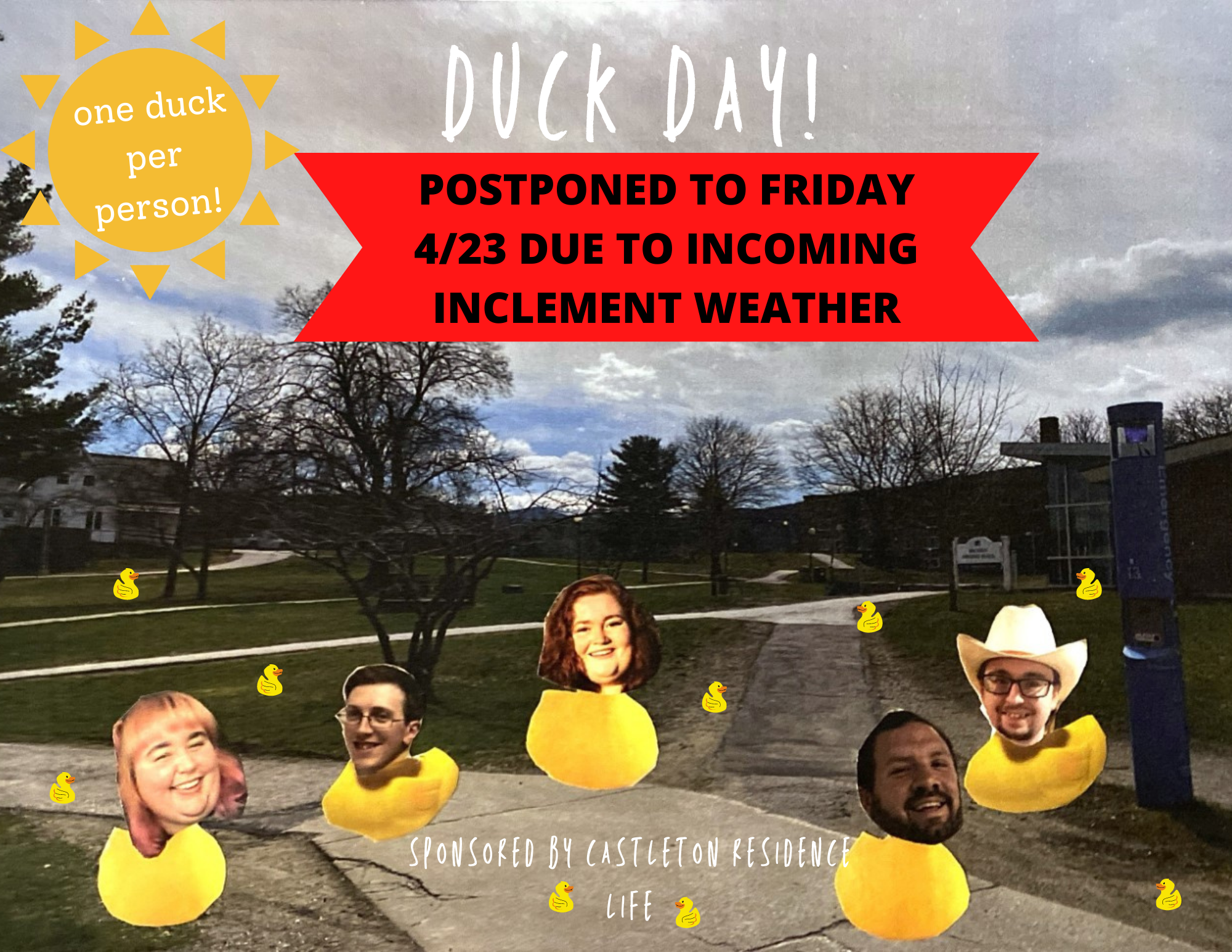 Duck Day Postponed to Friday April 23rd!