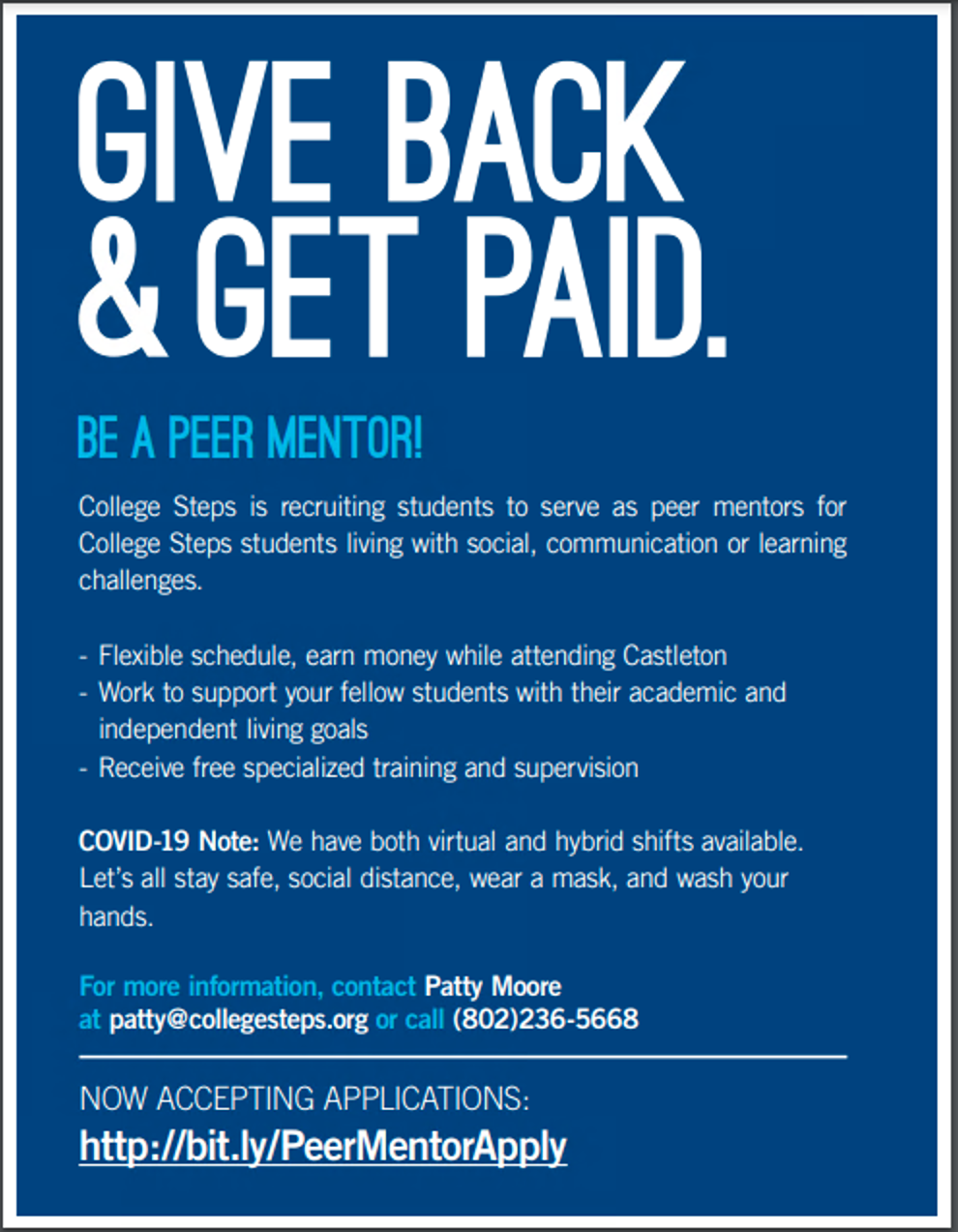 College Steps is hiring for the Fall 2021 Semester
