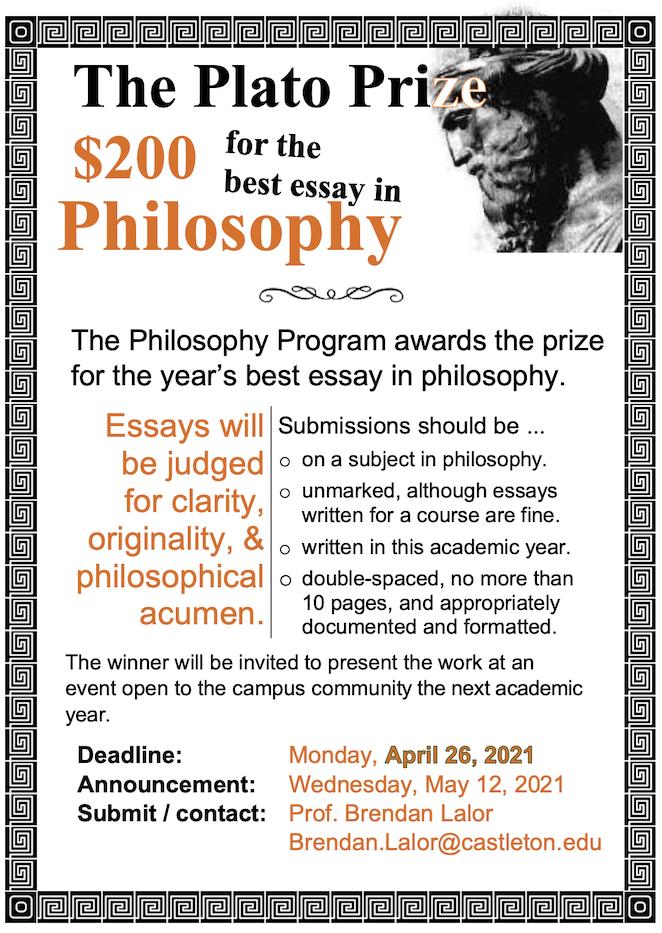 Plato Prize Essay Competition, 2021!