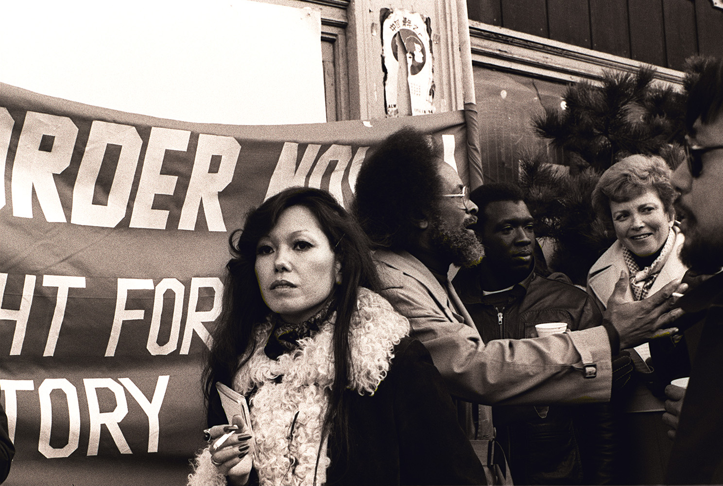Black and white photo of Janice Mirikitani