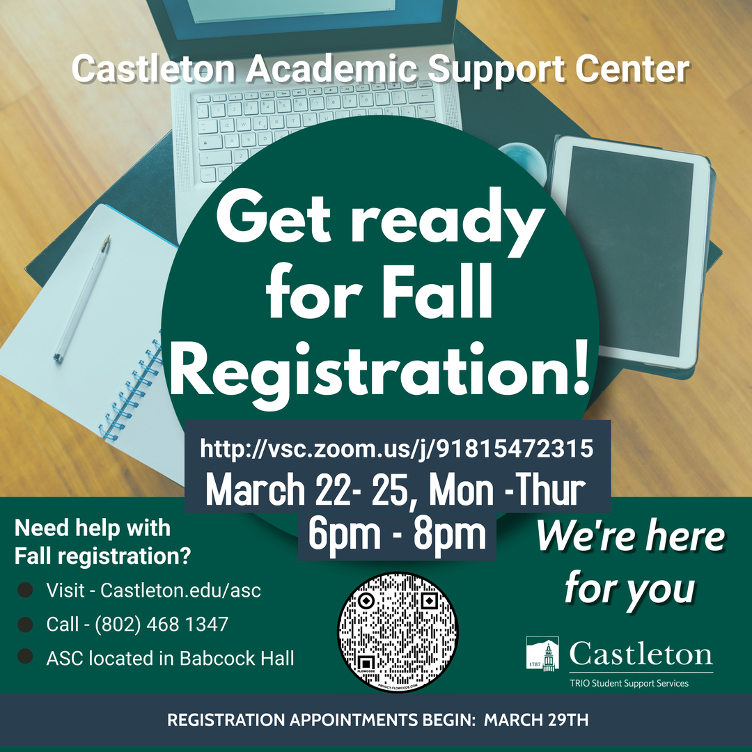 Need help with Registration? The ASC is here to help you!