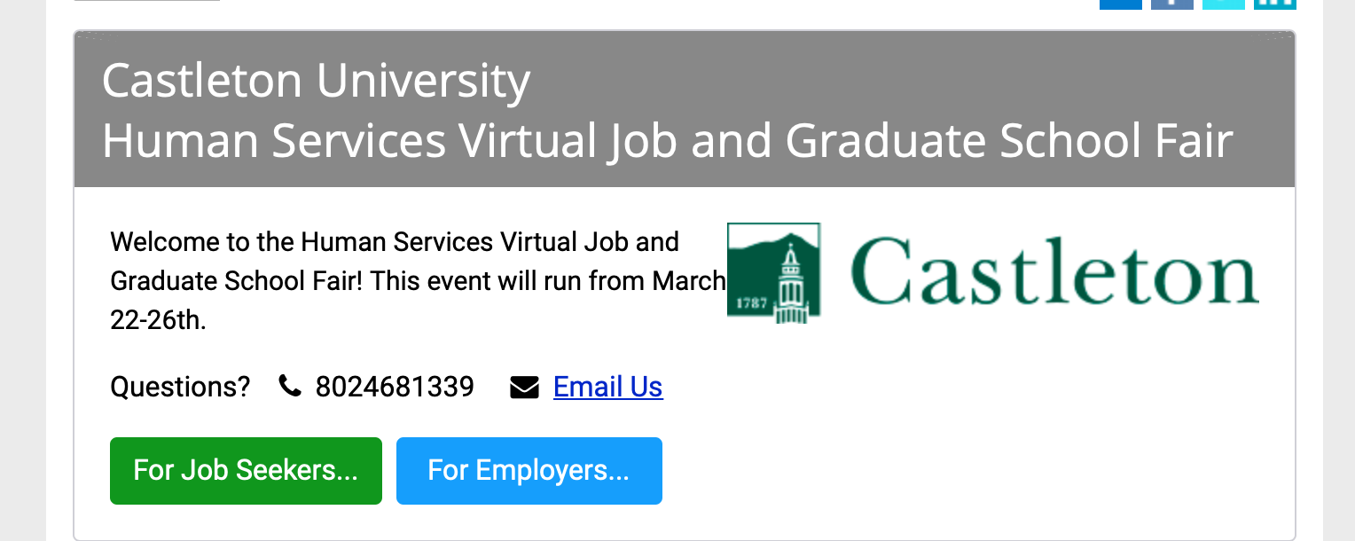Attention Social Work Students: Human Services Virtual Job and Graduate School Fair (March 24-26)