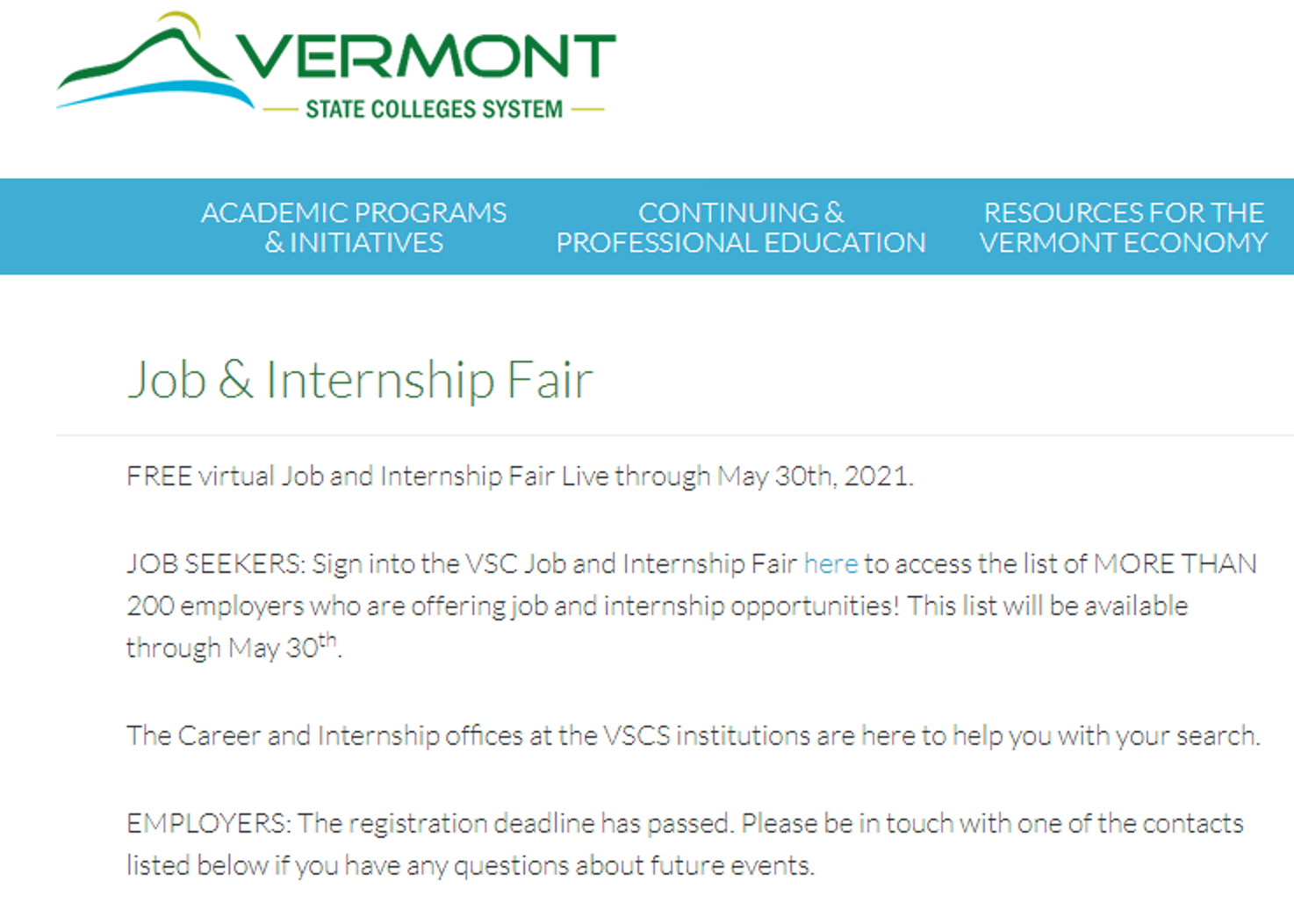 The Spring 2021 VSCS Virtual Job and Internship Fair is here!