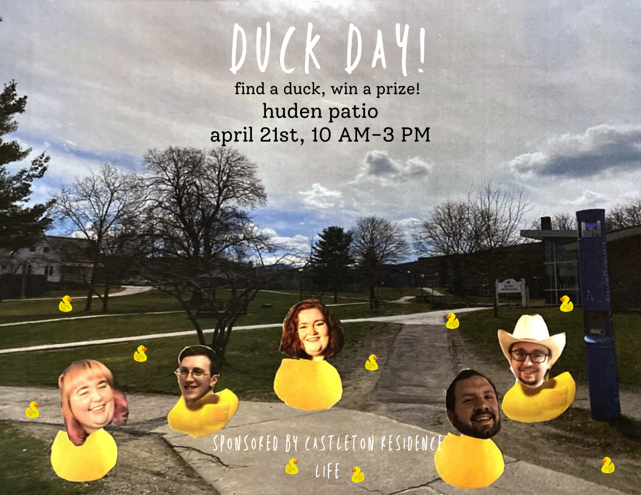 Come to the Huden Patio for Duck Day! (April 21)